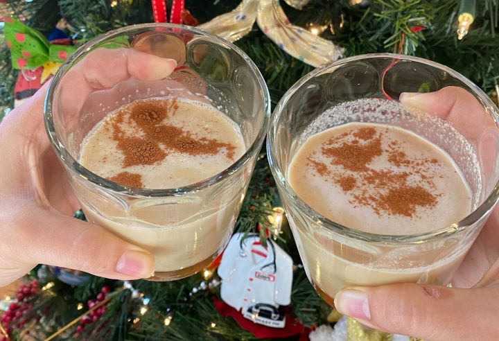 On the left is the nog made without almond butter, and on the right is the nog with four tablespoons of almond butter as a thickener. The difference was all in the taste!