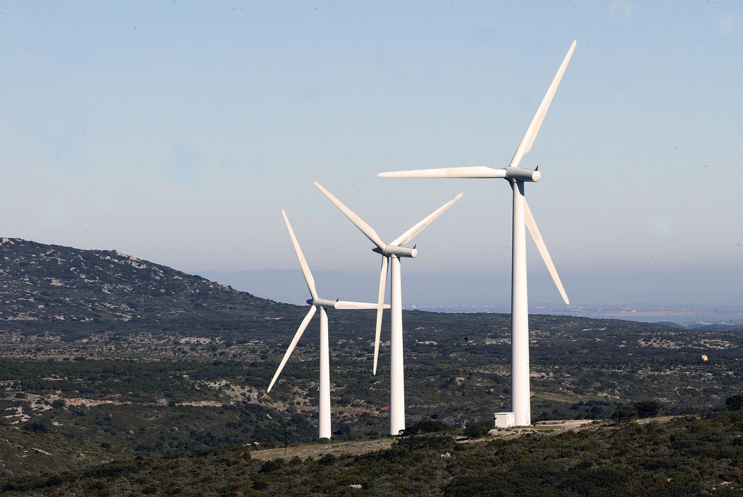 Des éoliennes du site d'Opoul Perillos, le 25 janvier 2006, près de