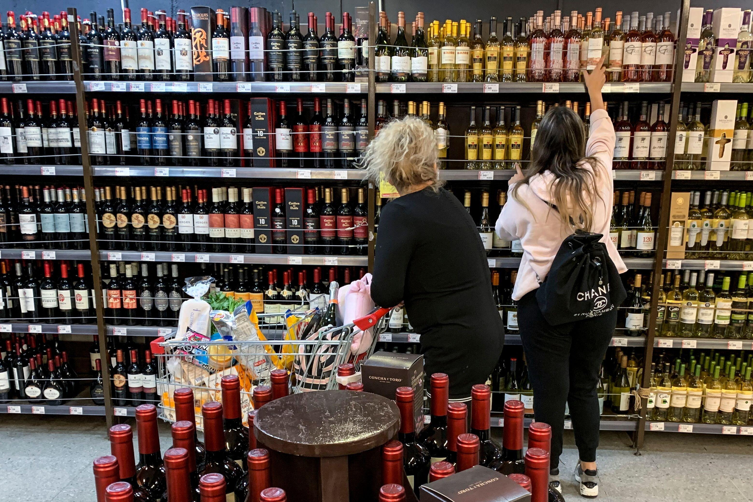 Un rayon d'alcool dans un supermarché au