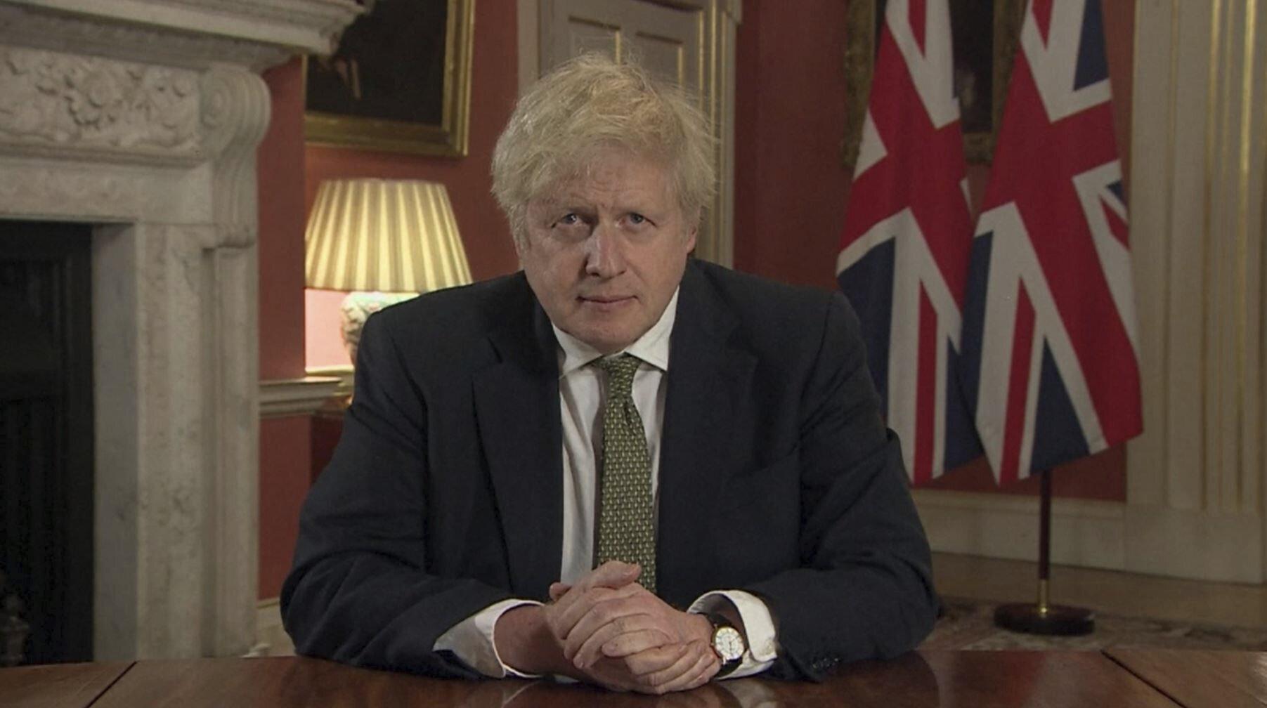 Boris Johnson, ici lors d'un discours télévisé à la nation depuis le 10 Downing...