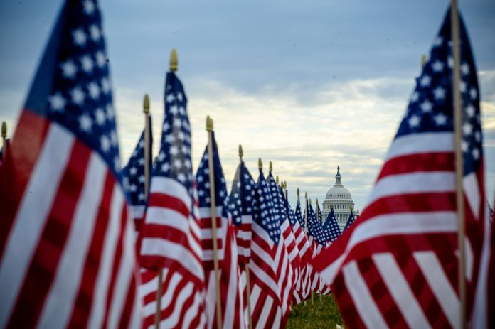 The flag display, organized by the Presidential Inaugural Committee, makes up part of the event's theme of unity.