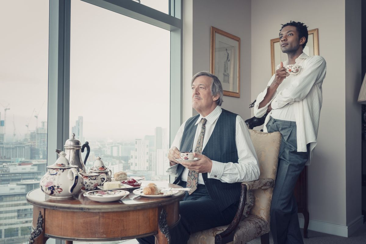 Omari with co-star Stephen Fry in It's A