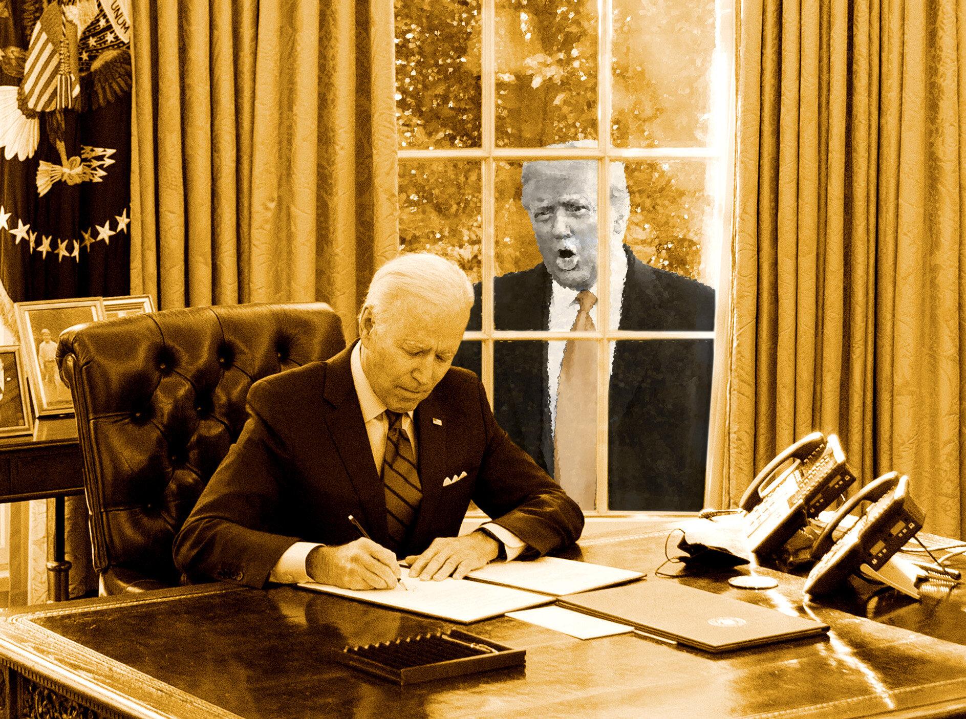 Ce que Joe Biden va garder de l'ère Donald Trump (de gré ou de force) (Illustration Maxime...