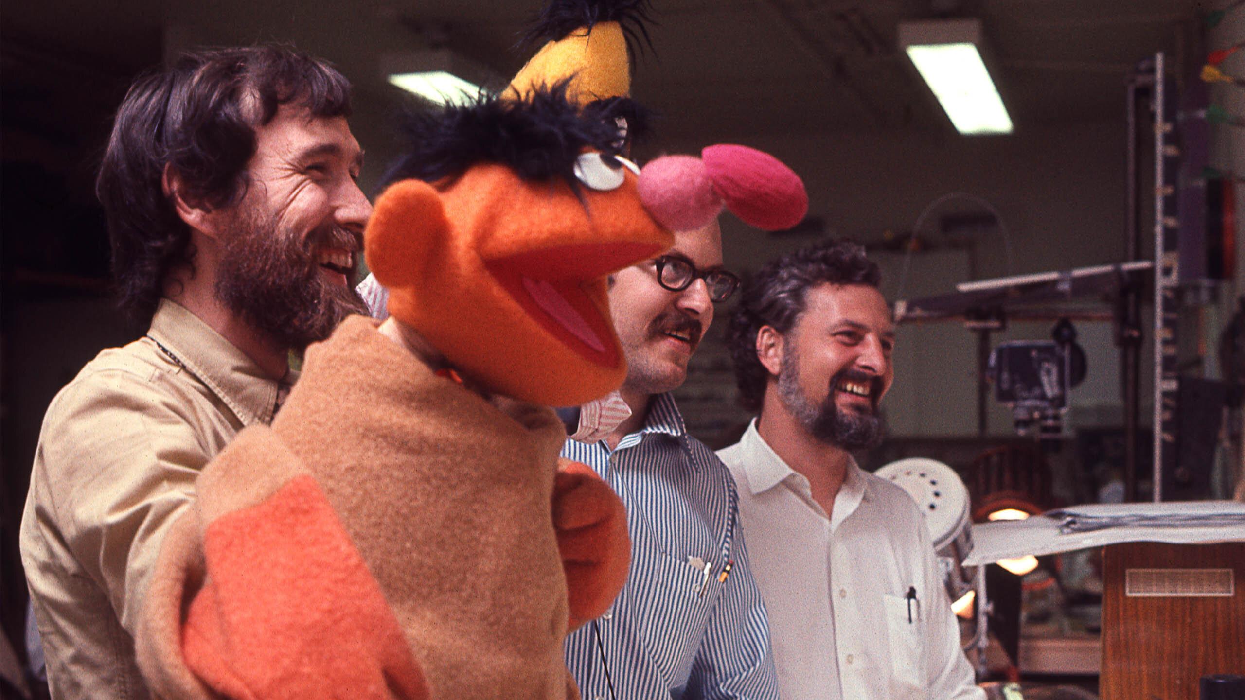 "Muppeteers at work in ""Street Gang: How We Got To Sesame Street."""