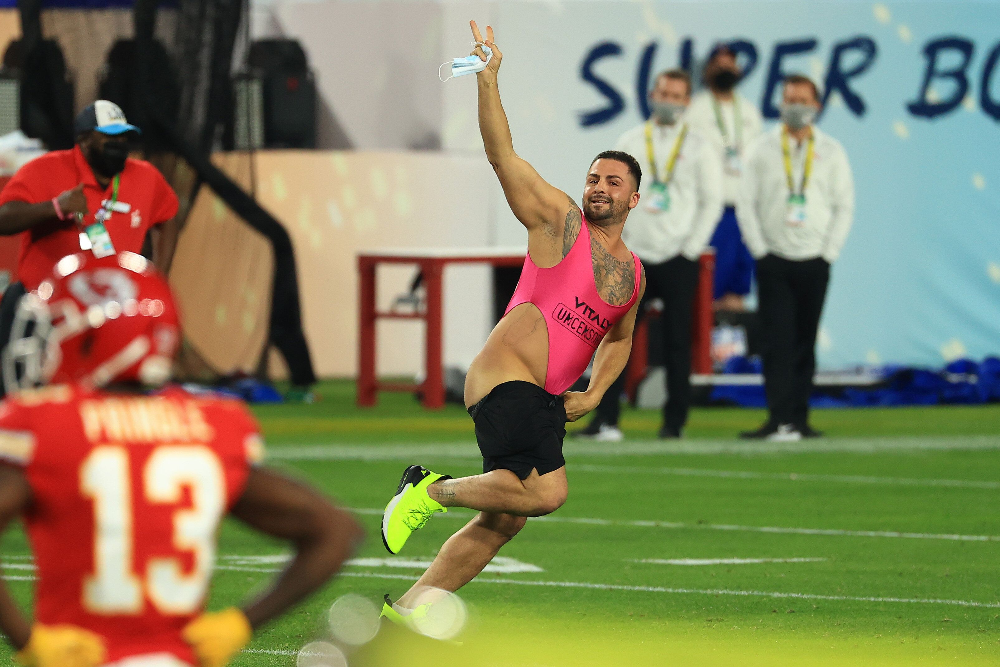 The man ran onto the field before victory was declared for the Tampa Bay Buccaneers.