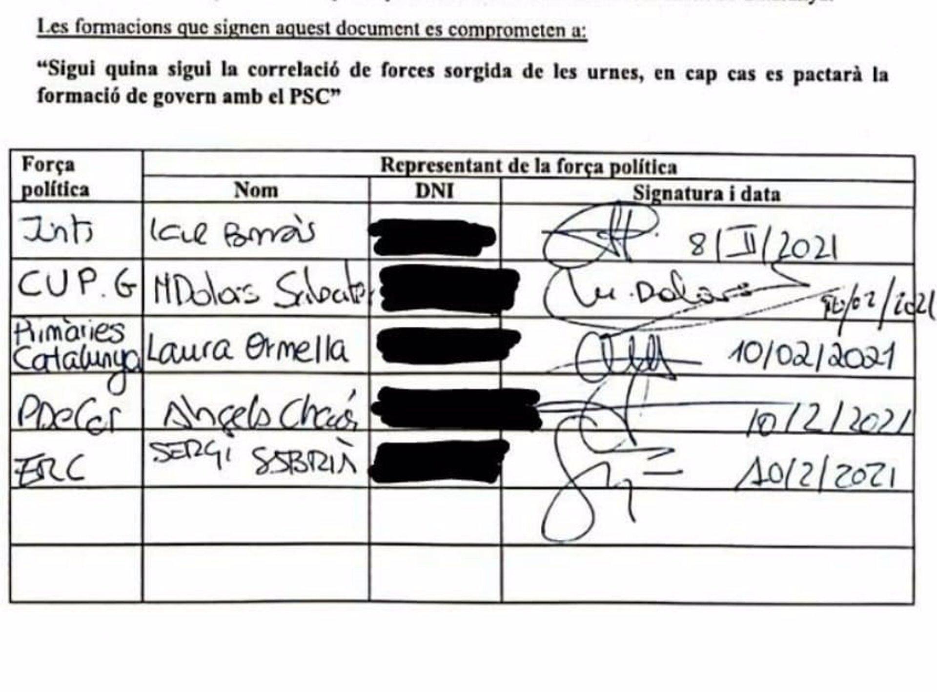 Los partidos independentistas se comprometen por escrito a no pactar con Illa