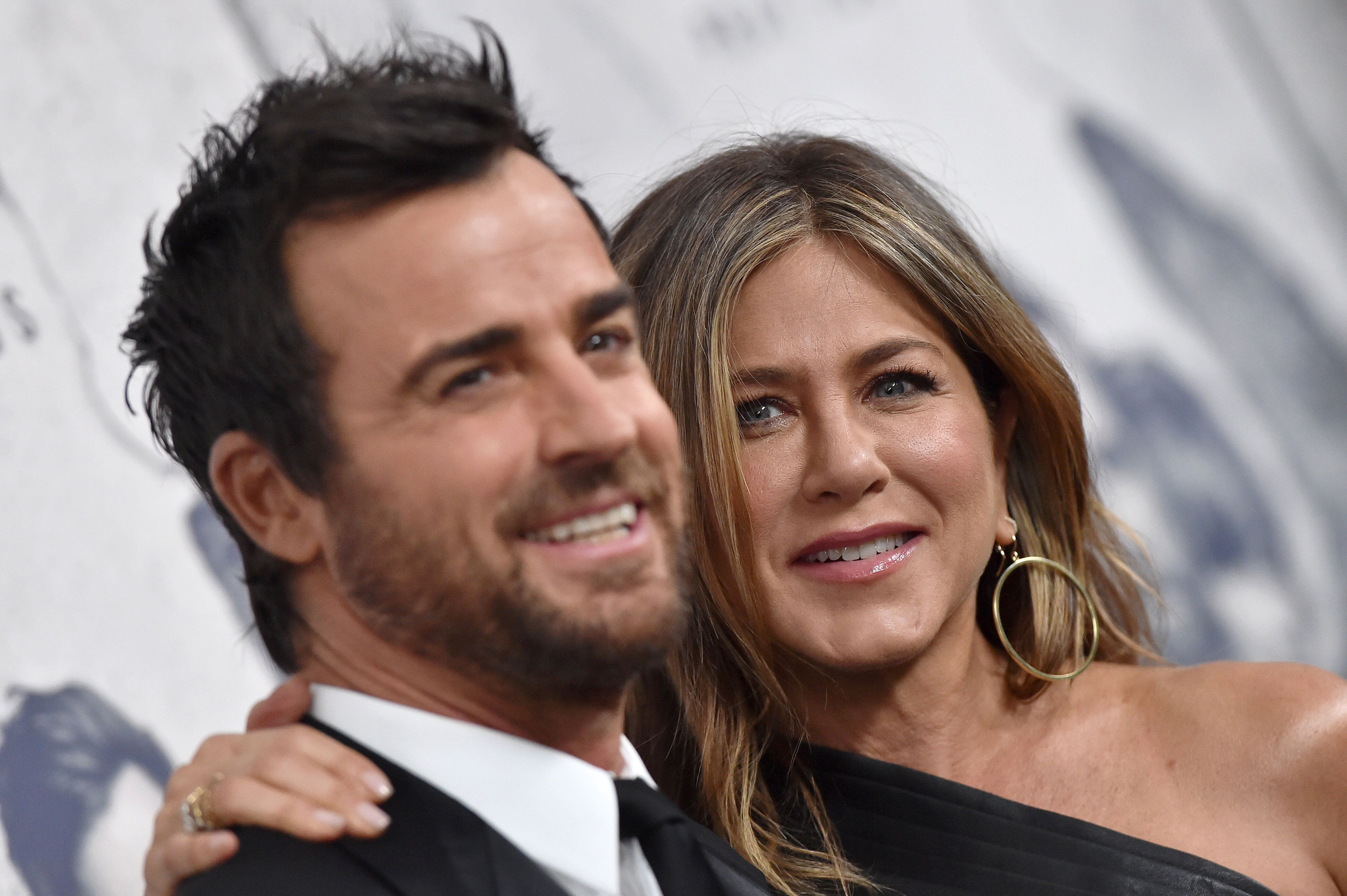Justin Theroux and Jennifer Aniston pictured in April