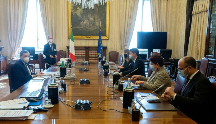 Italian Prime Ministerial contender Mario Draghi met members of the Italia Viva Party during the second round of their talks in form
