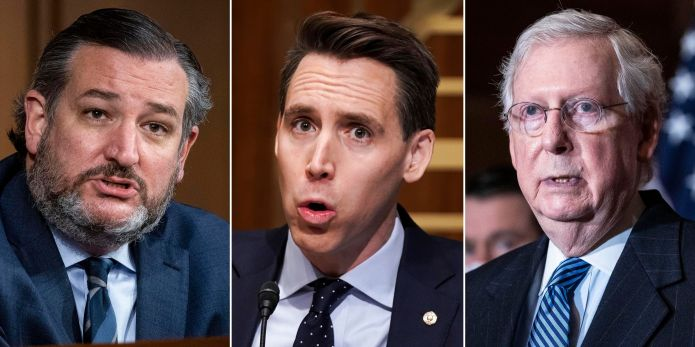 Left to right: Republican Sens. Ted Cruz, Josh Hawley and Mitch McConnell. Most Republicans in Congress were more worrie