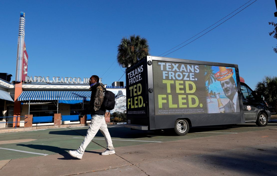 A digital billboard truck in Houston calls out Sen. Ted Cruz (R-Texas) for going to Mexico as a deadly winter storm struck hi