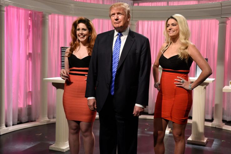 "Vanessa Bayer (left), Trump and Cecily Strong (right) during the ""Porn Stars"" sketch during the Nov. 7, 2015 show, Trump's se"