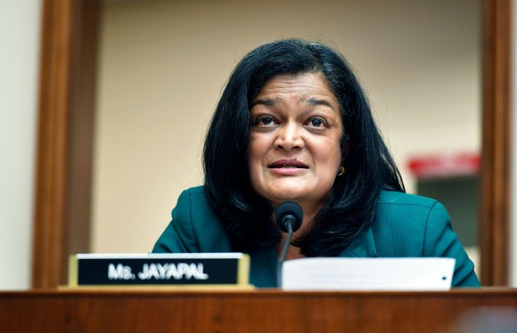 In this July 29, 2020, file photo, Rep. Pramila Jayapal (D-Wash.) speaks during a House Judiciary subcommittee hearing on Cap