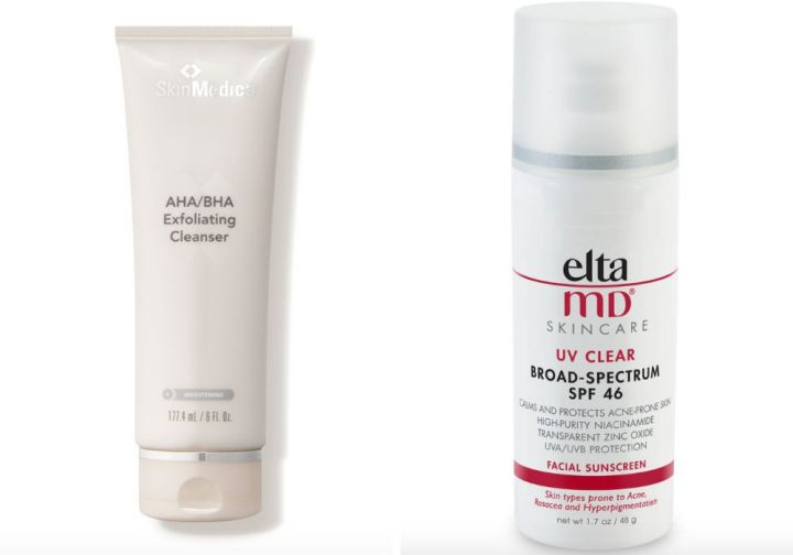 "<strong><a href=""https://www.dermstore.com/product_AHABHA+Exfoliating+Cleanser_53511.htm"" target=""_blank"" rel=""noopener noreferrer"">SkinMedica AHA/BHA Exfoliating Cleanser</a>, ;&nbsp;<a href=""https://www.dermstore.com/product_UV+Clear+BroadSpectrum+SPF+46_20567.htm"" target=""_blank"" rel=""noopener noreferrer"">EltaMD UV Clear Face Sunscreen SPF 46</a>, </strong>"