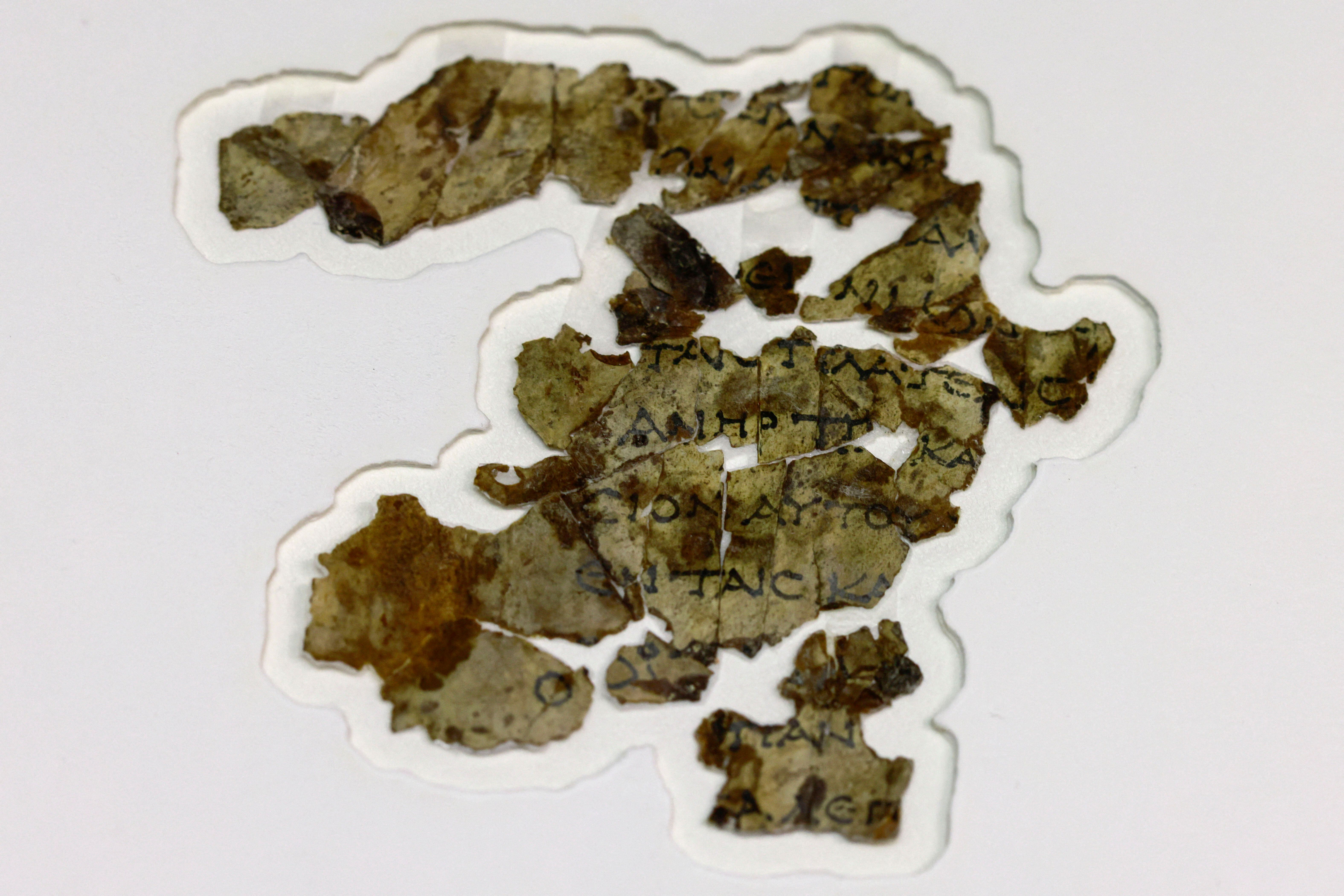 Recently-discovered biblical scroll fragments from the Bar Kochba period are displayed at the Israel Antiquities Authority's