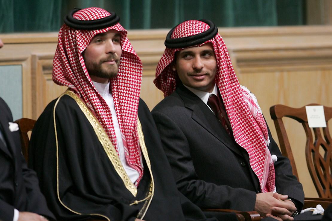 Prince Hamza Bin Al-Hussein, right, and Prince Hashem Bin Al-Hussein, left, brothers King Abdullah II of Jordan, attend the o