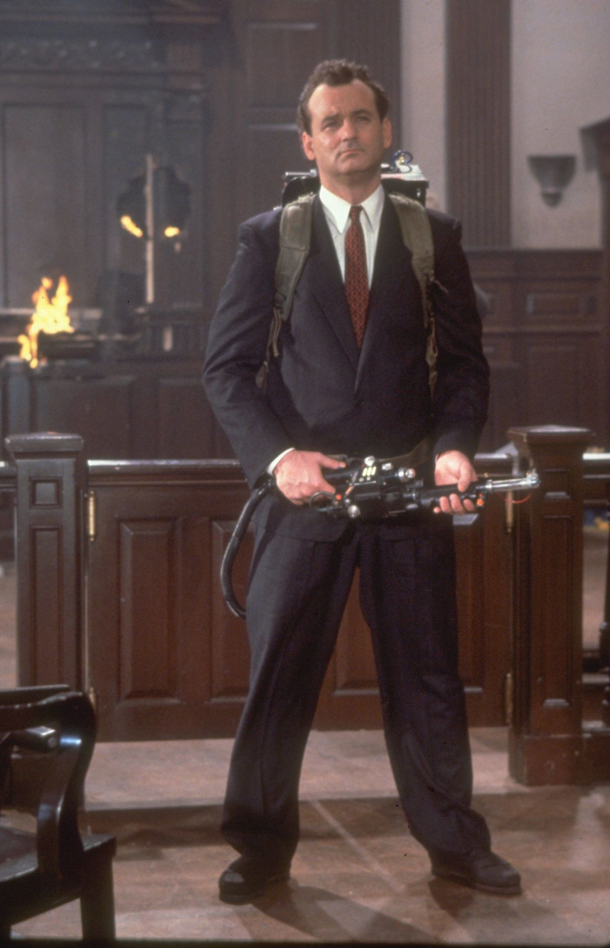 Bill Murray in character in Ghostbusters