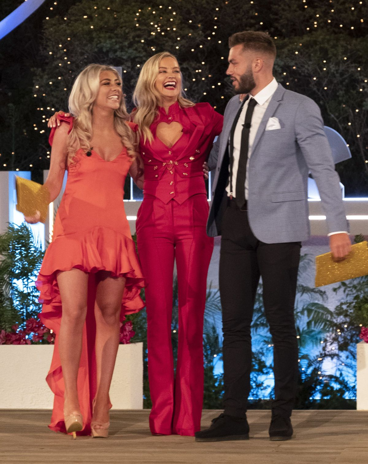 Love Island host Laura Whitmore with winners Paige and
