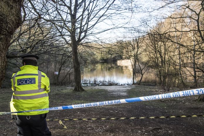 Wake Valley pond in Epping Forest where the body of 19-year-old Richard Okorogheye was