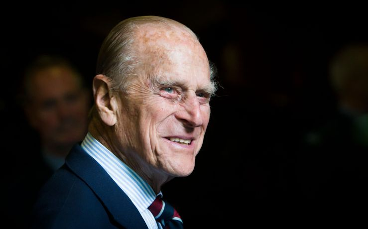 The Duke of Edinburgh smiles during a visit to the headquarters of the Royal Auxiliary Air Force's 603 Squadron on July 4, 20