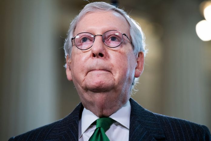 """Senate Minority Leader Mitch McConnell (R-Ky.), seen on March 17, was reportedly called a """"dumb son of a bitch"""" by Trump."""