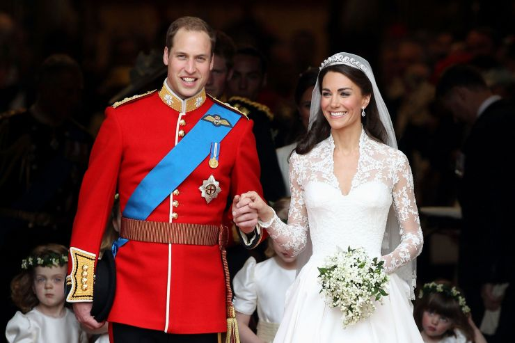 The Duke and Duchess of Cambridge smile following their marriage at Westminster Abbey on April 29, 2011, in London.