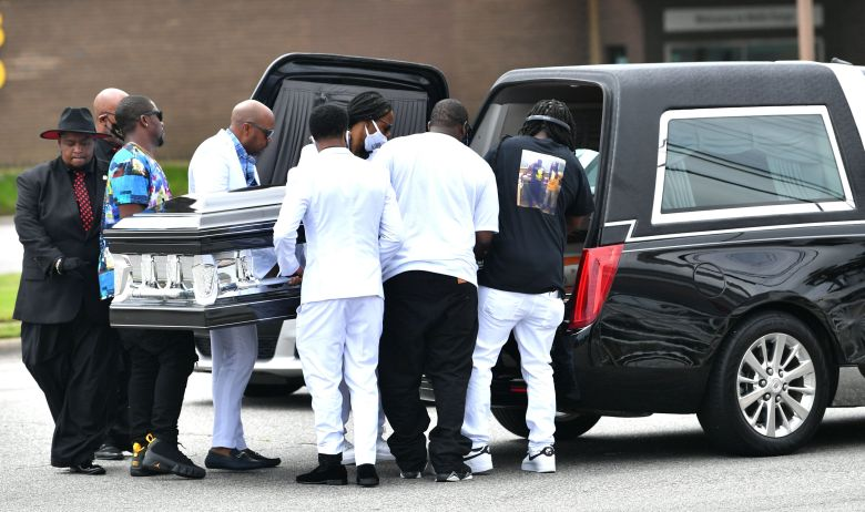 The family members of Andrew Brown Jr., Al Sharpton and others take part in his funeral on May 3.