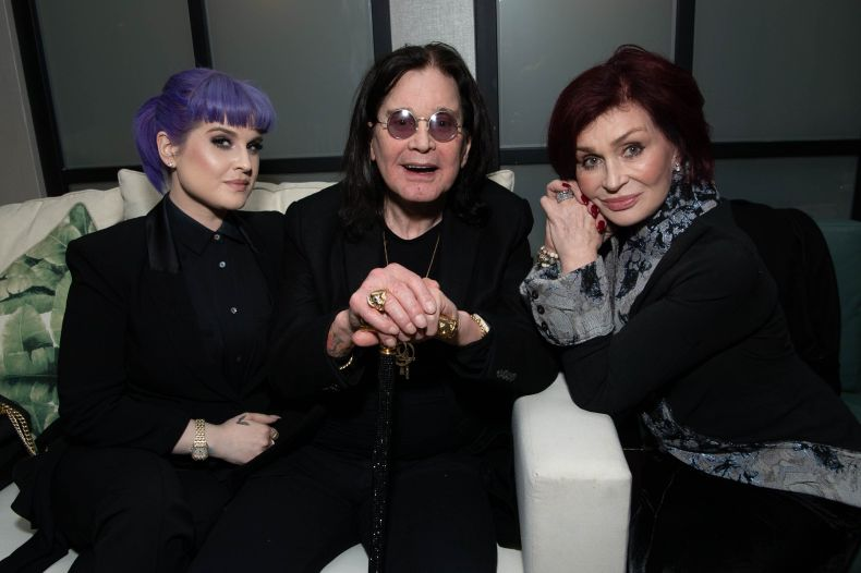 Kelly Osbourne and her parents, musician Ozzy Osbourne and TV personality Sharon Osbourne, in 2019.