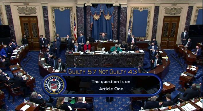 In this screenshot taken from a congress.gov webcast, the Senate votes 57-43 to acquit former President Donald Trump in his s