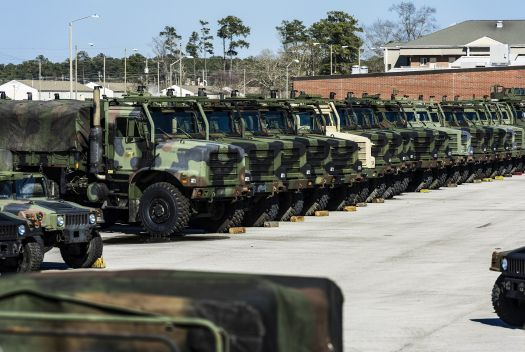 Military trucks are seen at Marine Corps Base Camp Lejeune in North Carolina, where there is often an open missing weapons in