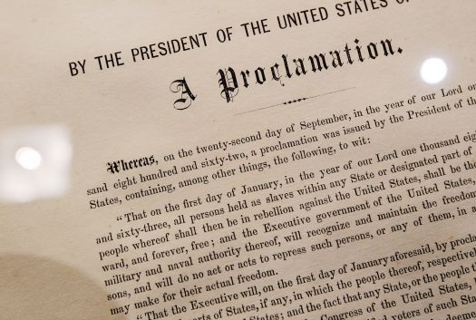 A detail of the Emancipation Proclamation owned by American statesman and politician Robert Kennedy is seen at Sotheby's auction house Dec. 3, 2010, in New York City. The document, one of only 25 copies in existence of Abraham Lincoln's historic edict that freed enslaved people in America, is estimated to be worth more than $1 million.
