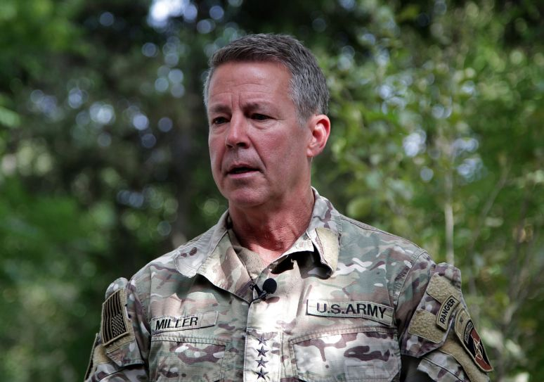 In this June 29, 2021 file photo, U.S. Army Gen. Scott Miller speaks to journalists at the Resolute Support headquarters, in