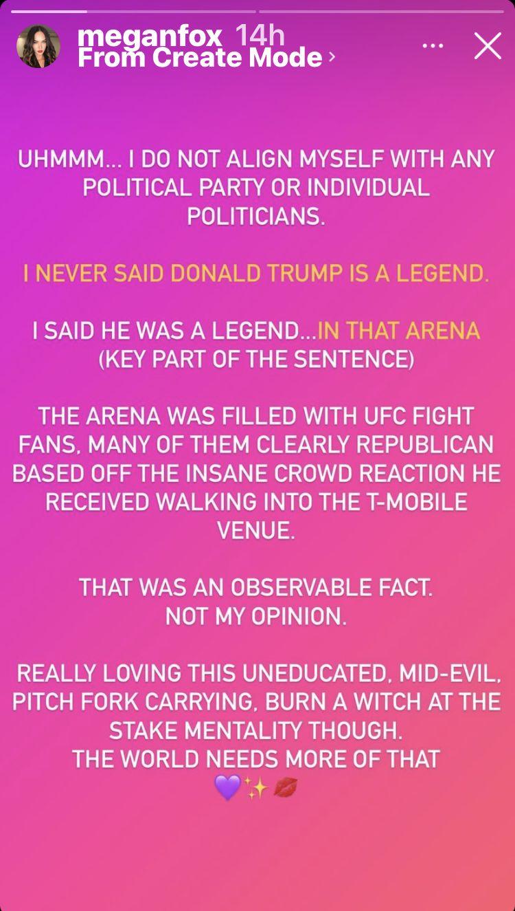 "Megan Fox's statement about calling Donald Trump a ""legend."""