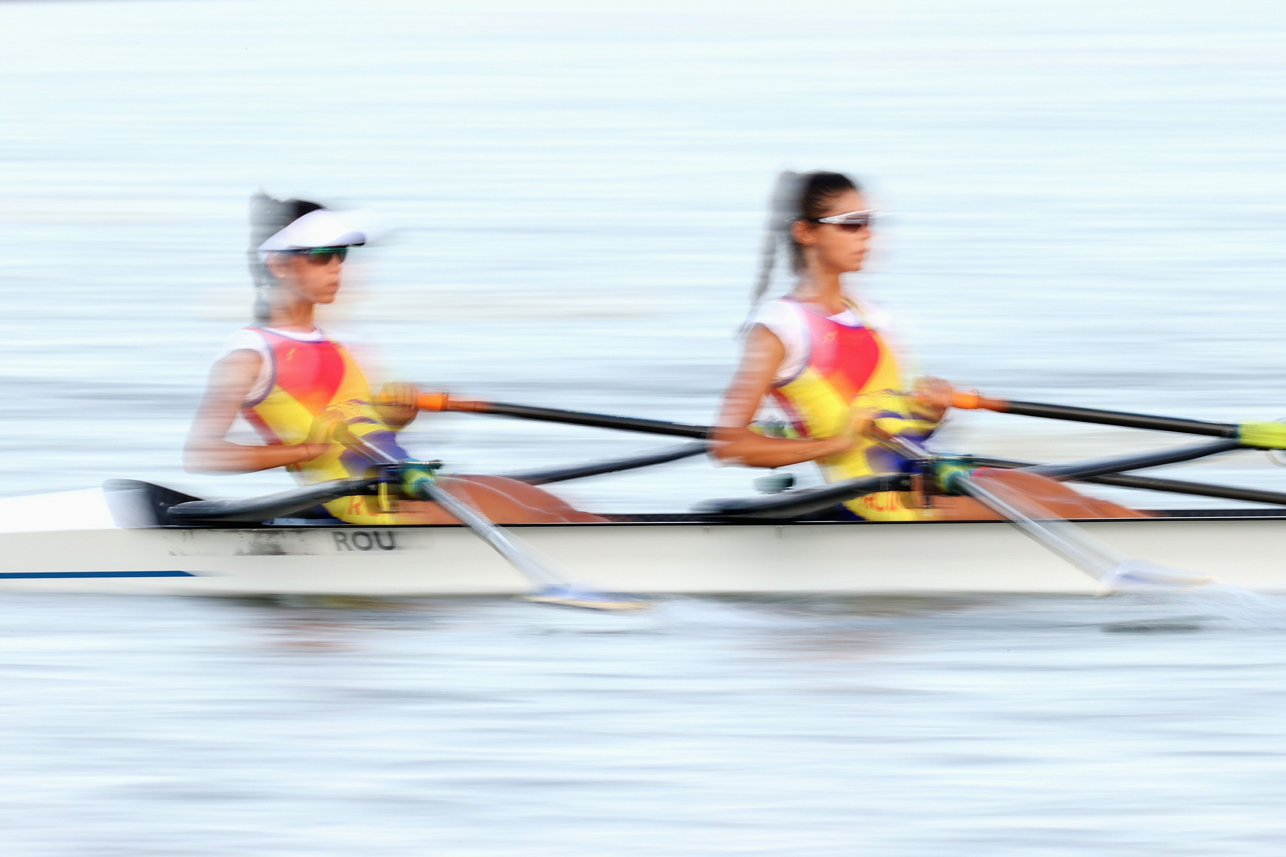 TOKYO, JAPAN - JULY 21: The Team Romania Women's double row during a training session at Sea Forest Waterway ahead of the Tok