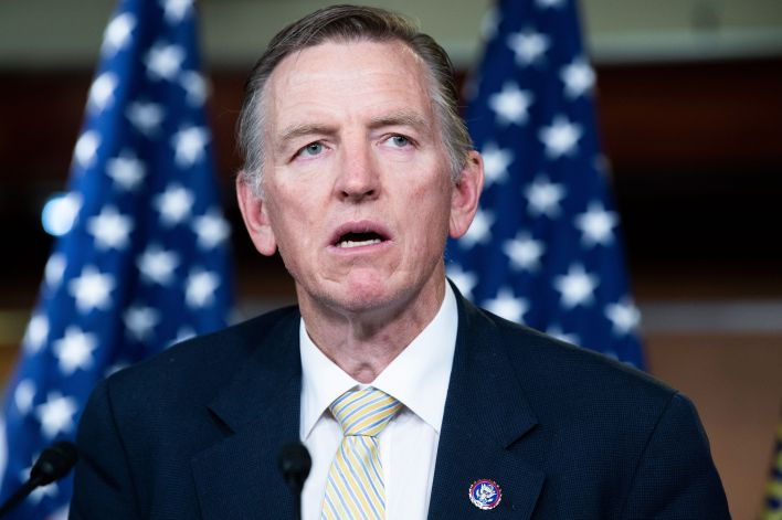Rep. Paul Gosar conducts a news conference in the Capitol Visitor Center on the Fire Fauci Act, which aims to strip the salar