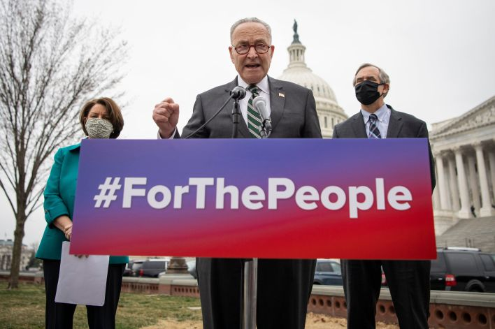 Senate Majority Leader Chuck Schumer (D-N.Y.), center, brought up the For the People Act, introduced by Sens. Amy Klobuchar (
