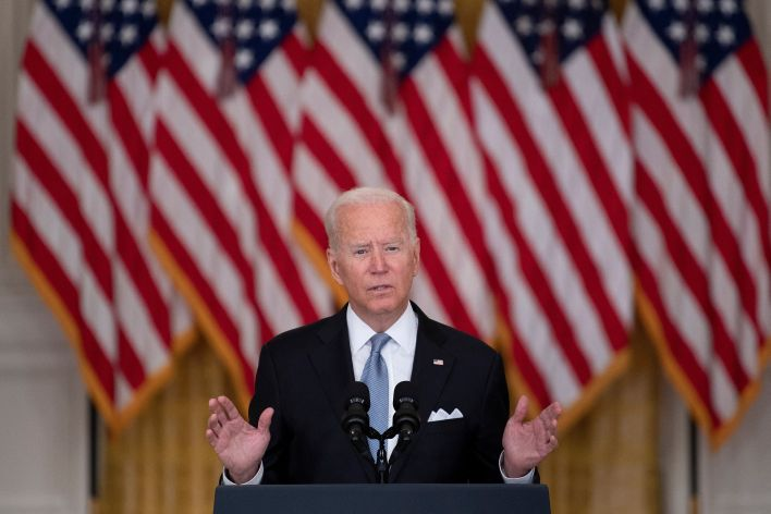 Joe Biden speaks about the Taliban's takeover of Afghanistan from the East Room of the White House on Aug. 16, 2021.