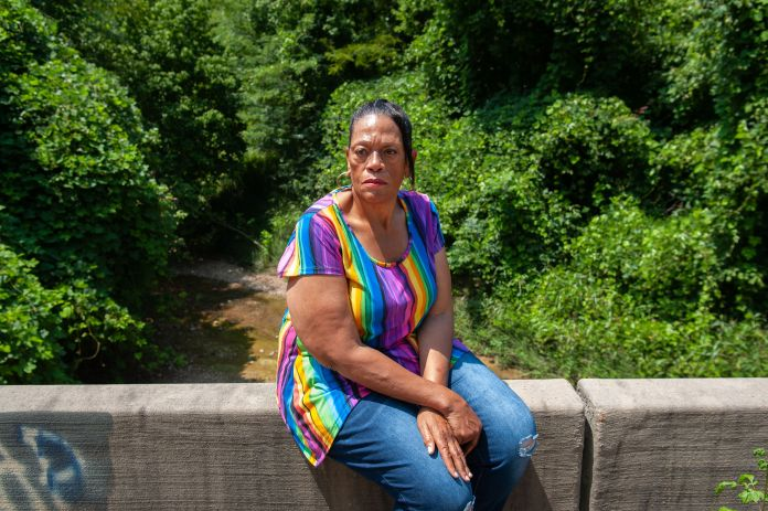 Gas victim Thelma Brown in July, near the site where two of her sons and one of her nephews were rescued in Satartia.<br /><strong>Rory Doyle for HuffPost</strong>