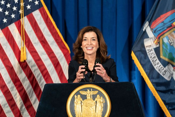 New York Gov. Kathy Hochulwill have a ceremonial swearing-in event Tuesday morning at the Capitol, with more pomp than