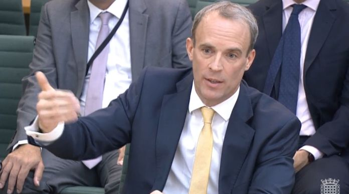 Dominic Raab giving evidence to the Commons Foreign Affairs Committee about his part in the Afghanistan
