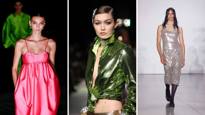 Models walk the Spring/Summer 2022 runways in (left to right) Prabal Gurung, Tom Ford and Private Policy.