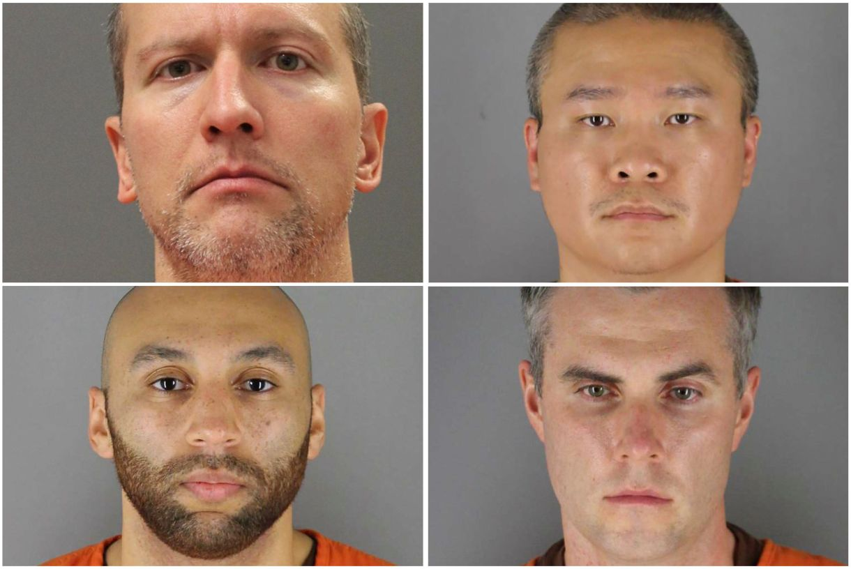 Clockwise from top left: Derek Chauvin, Tou Thao, Thomas Lane and J. Alexander Kueng.