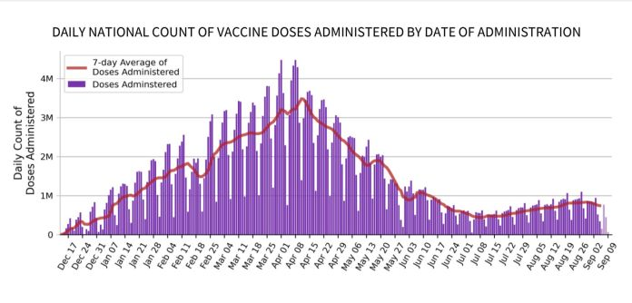 The number of coronavirus vaccinations being administered daily in the U.S. has plateaued since June. This follows a high bac