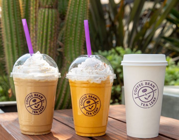 From left to right: a Cookie Butter Iced Blended Drink, Pumpkin Ice Blended Drink and Pumpkin Latte from Coffee Bean & Tea Leaf.