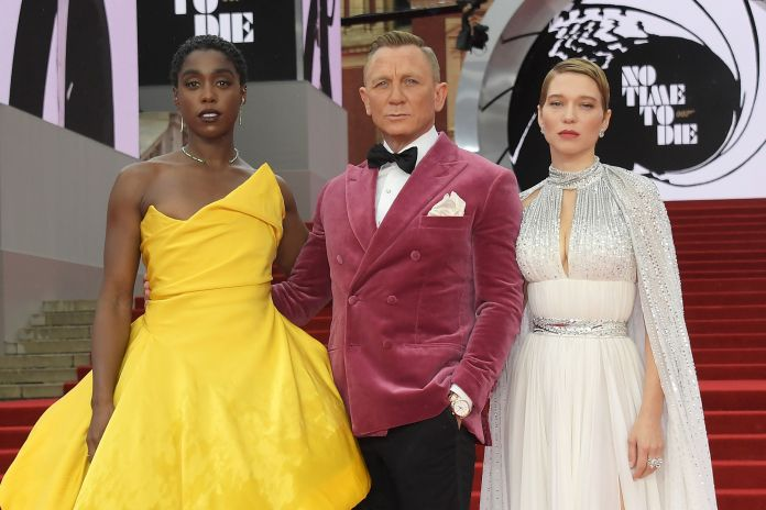 (L to R) Lashana Lynch, Daniel Craig and Lea Seydoux attend the World Premiere of No Time To Die at the...