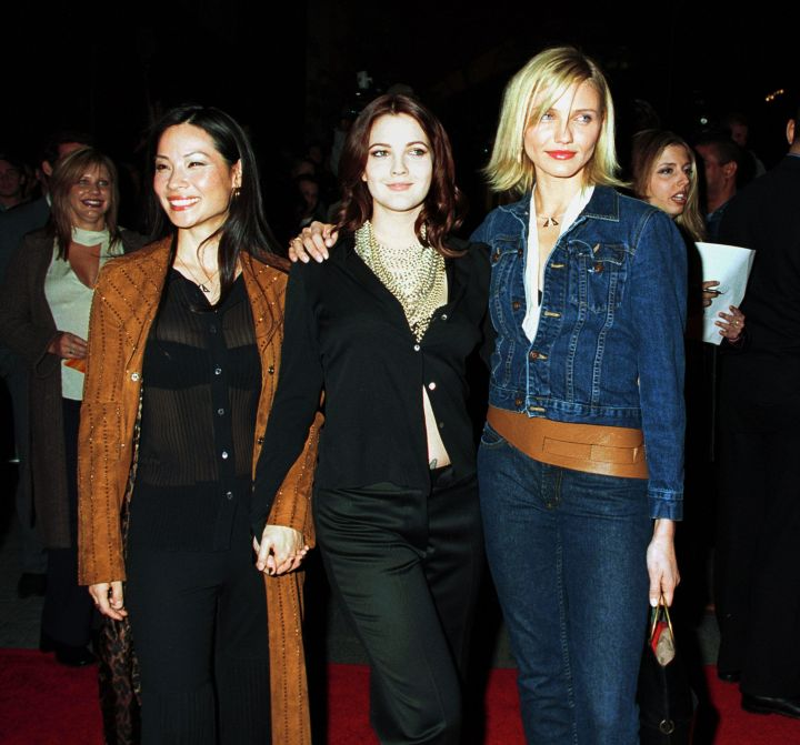 """Lucy Liu, Drew Barrymore and Cameron Diaz attend a screening for """"Charlie's Angels"""" in 2000."""