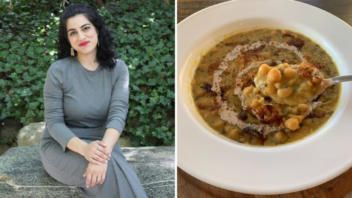 Habiba Syed and a bowl of oogra, a warming lentil soup.
