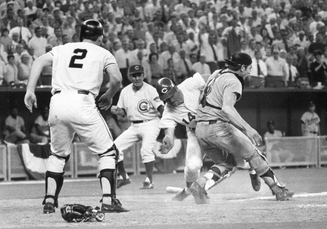 Pete Rose slammed into Fosse to score the winning run in the 1970 All-Star Game.