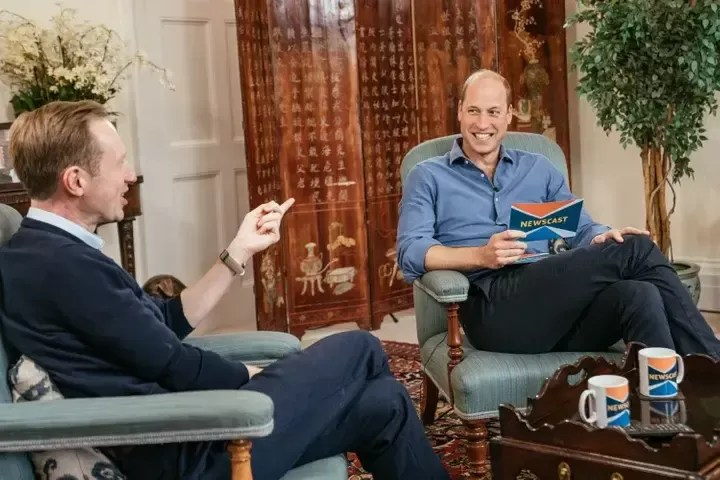The Duke of Cambridge (right) with Adam Fleming recording an appearance on BBC Newscast at Kensington Palace, London.