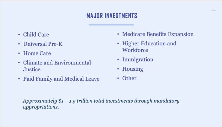 Democrats proposed a possible compromise framework that would include around $1.5 trillion in spending on programs like child care and affordable housing.