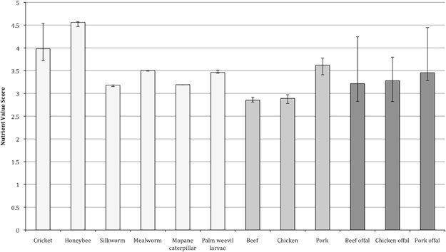 """<span class='image-component__caption' itemprop=""""caption"""">Bar graph showing the median values and inter-quartile range of Nutrient Value Scores (a higher score indicates a more nutritious food) for insects (light grey), meat (medium grey) and offal (dark grey). Higher scores indicate healthier foods.</span>"""